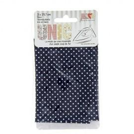 Tissu thermocollant mini pois blanc/marine