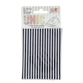 Iron on fabric stiched stripes  - white/navy blue
