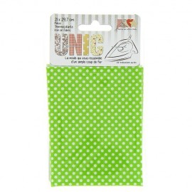 Iron on fabric  little polka dots  - white/apple green