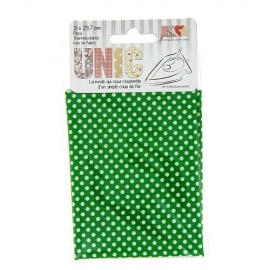 Iron on fabric  little polka dots  - white/ green
