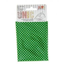 Tissu thermocollant petits pois blanc/vert