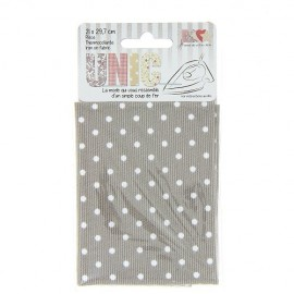 Iron on fabric stiched little spots - white/taupe