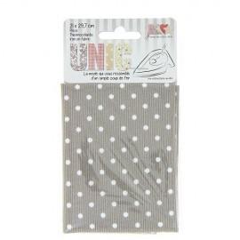 Tissu thermocollant piqué petits pois blanc/taupe
