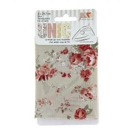 Tissu thermocollant fleuri roses beige