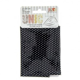 Iron on fabric little polka dots - white/black