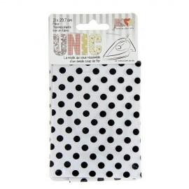 Tissu thermocollant  pois noir/blanc
