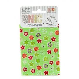 Iron on fabric flowered - green