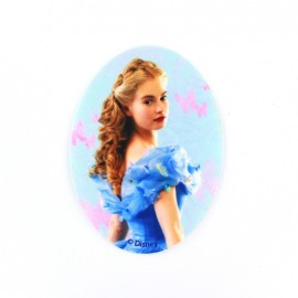 Canvas oval-shaped iron-on patch Cinderella A - sky blue