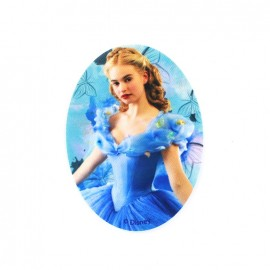 Canvas oval-shaped iron-on patch Cinderella C - blue