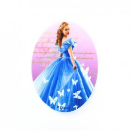 Canvas oval-shaped iron-on patch Cinderella D - blue