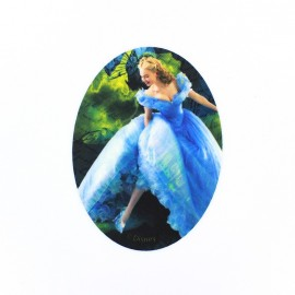 Canvas oval-shaped iron-on patch Cinderella G - blue