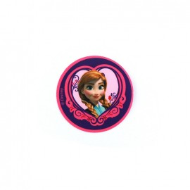 "Canvas Iron on patch  heart-shaped ""The Snow Queen"" Anna - fuchsia"