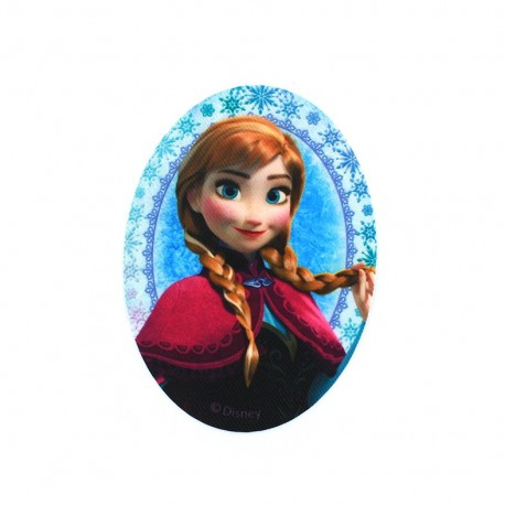 """Canvas Iron-on oval-shaped patch """"The Snow Queen"""" Anna's portrait - sky blue/fuchsia"""