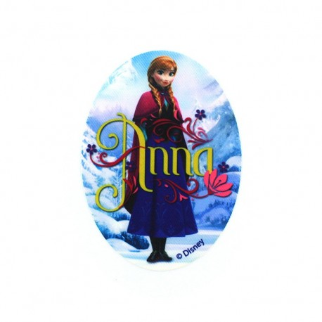 """Canvas oval-shaped Iron-on patch """"The Snow Queen"""" Anna - sky blue"""