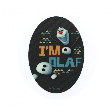 """Canvas oval-shaped Iron-on patch """"The Snow Queen"""" Olaf I'm Olaf - black"""