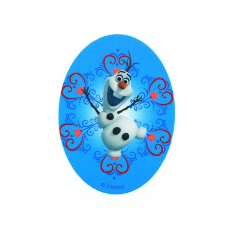 """Canvas oval-shaped Iron-on patch """"The Snow Queen"""" Olaf Hearts - blue"""