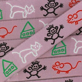Woven Ribbon, Children's drawings x 1m - pink