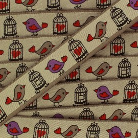 Woven Ribbon, birds' cage  x 1m - taupe