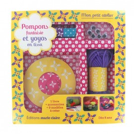 """Fantasy pompoms and fabric-made yoyos"" Children set - multicolored"