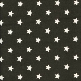Stars Coated Cotton Fabric - Almost Black - anthracite x 10cm