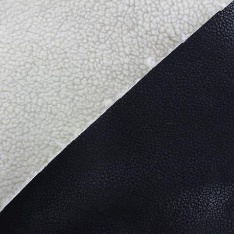 Reversible fur faux cracked black leather ecru x 10cm