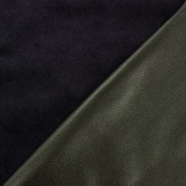 ♥ Only one piece 110 cm X 145 cm ♥ Supple faux leather on velvet - grey green/black