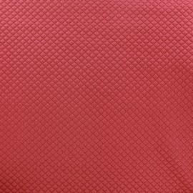 Quilted jersey fabric Little Diamond - red blush x 10cm