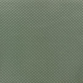 Quilted jersey fabric Little Diamond - grey green x 10cm