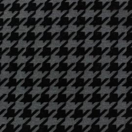 Tissu Velours milleraies floqué mat pied de coq anthracite  x 10cm