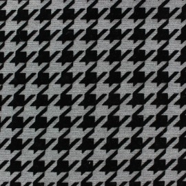 Flocked jersey fabric houndstooth - grey x 10cm