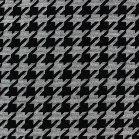 Tissu Jersey double floqué mat pied de coq gris x 10cm