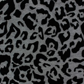 Flocked Jersey fabric animal prints - grey x 10cm