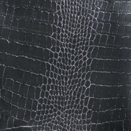 Imitation leather crocodile - anthracite, silver strass x 10cm