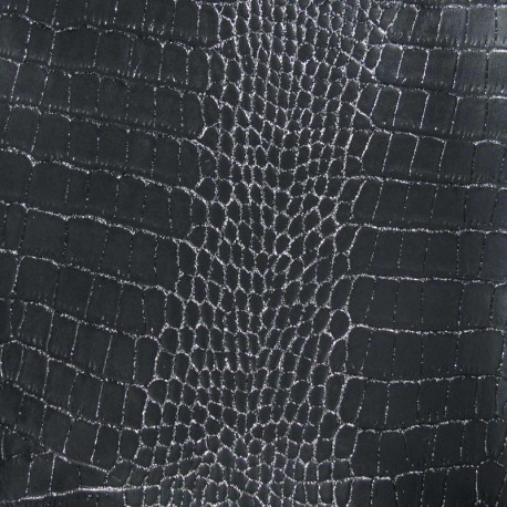 Imitation leather crocodile - anthracite, silver strass x 10cm
