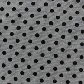 Tissu Jersey double floqué mat pois gris x 10cm