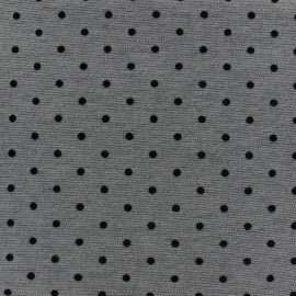 Flocked jersey fabric little dots - anthracite x 10cm