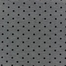 Tissu Jersey double floqué mat mini pois anthracite x 10cm