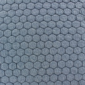 Quilted jersey fabric Big Dots - flecked blue x 10cm