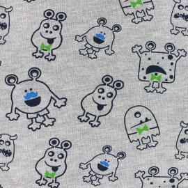 Tissu Oeko-Tex sweat léger Magic Monster gris x 10cm