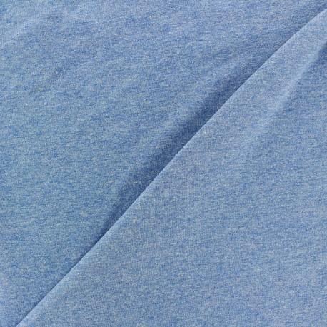 Tissu jersey uni bleu chiné x 10cm