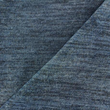 Tissu Maille légère chinée lurex bleu x 10cm