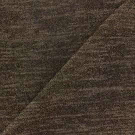 Tissu Maille légère chinée lurex marron x 10cm