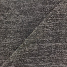 Light Stitch  flecked and lurex fabric  - dark grey x 10cm