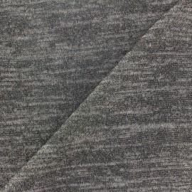 ♥ Coupon tissu 20 cm X 150 cm ♥ Maille légère chinée lurex gris clair