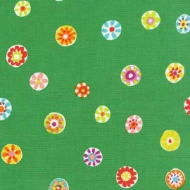 Tissu Folk Floral Dot - Vert x 10cm