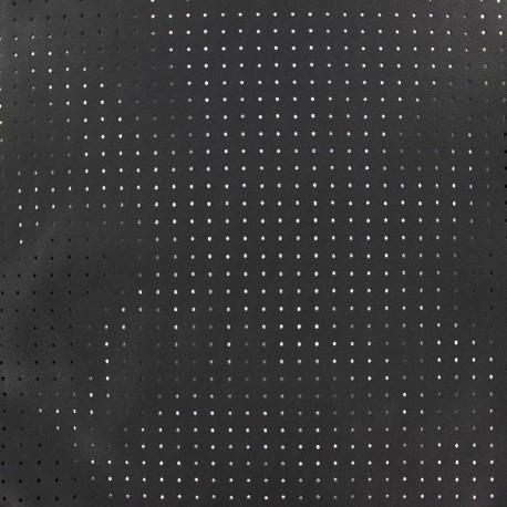 Imitation leather soft perforated Ebène - Minis pois  x 10cm
