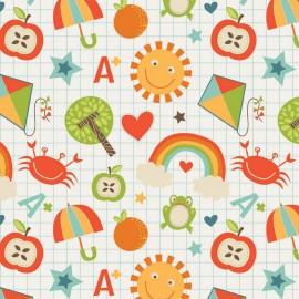 Fabric School Days B - Cream x 20cm
