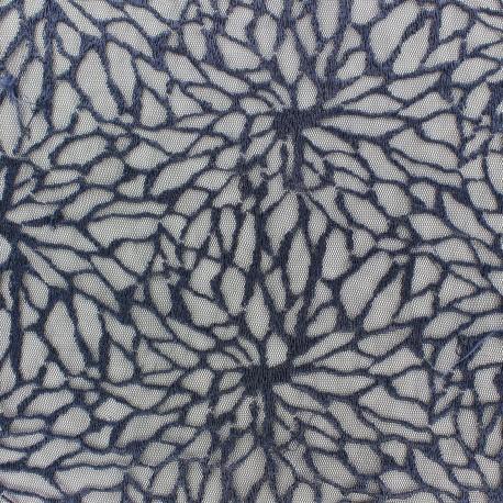 tissu broderie sur tulle fleur dahlia bleue x 10 cm - ma petite