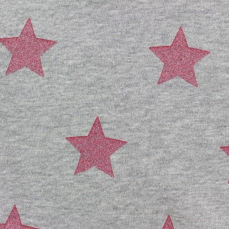 Sweat reversible light grey minkee fabric Glittery Stars - Raspberry x 10cm