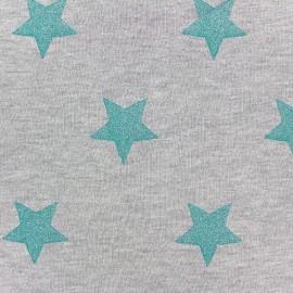 Tissu sweat envers minkee gris clair grandes étoiles pailletées azur x 10cm